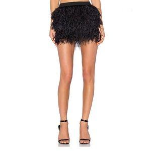 Michelle Mason Feather Mini Skirt